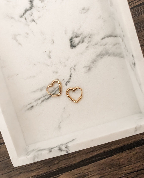 Heart Huggie Earrings in Gold