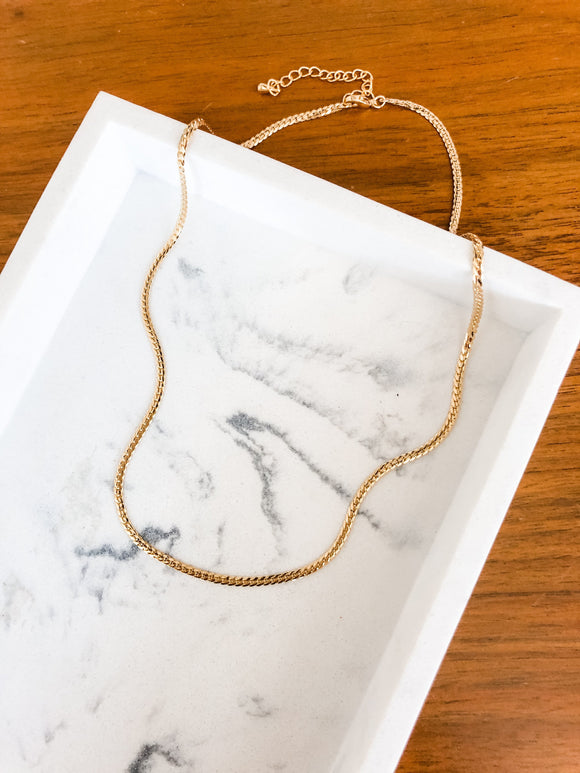 Textured Snake Curb Chain Necklace in Gold