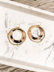 Double Hoop Blush Tortoise Earrings
