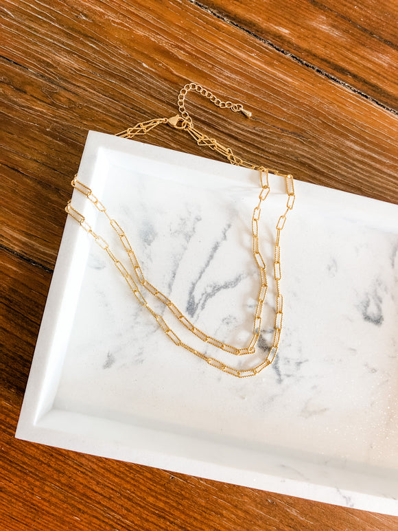 Double Mini Paperclip Chain Necklace