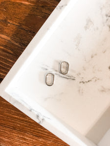 Oval Huggie Earrings in Silver