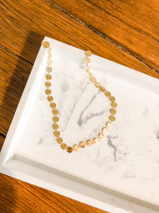 Dainty Disc Link Necklace in Gold