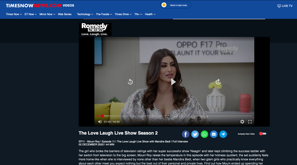 Times Now features Mouni Roy on The Love Laugh Live Show in SOSHAI