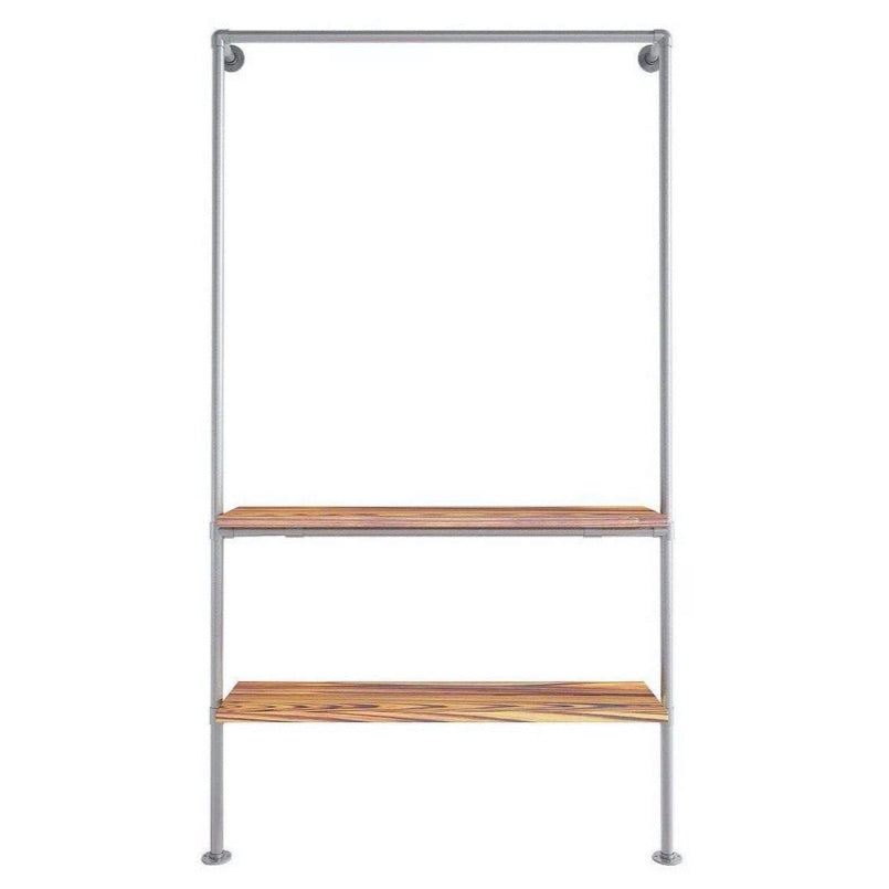 Ziito Clothes Rail Wood Shelf Double Wall