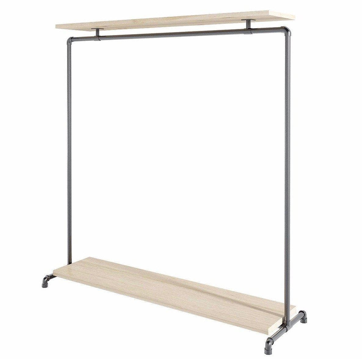 Ziito Clothes Rail Wood Double Shelf Tøjstativ