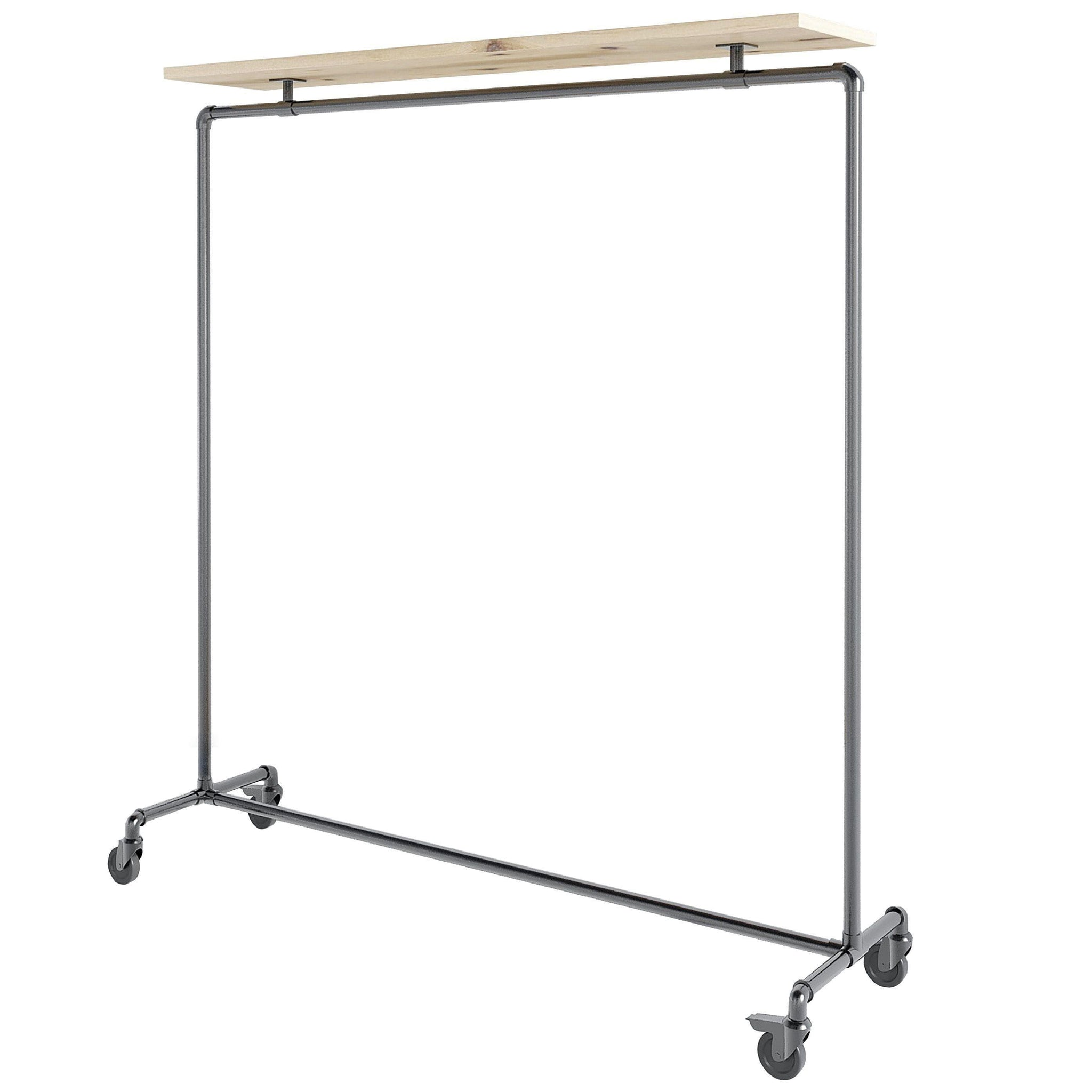 Ziito Clothes Rail Wood Top Shelf Tøjstativ