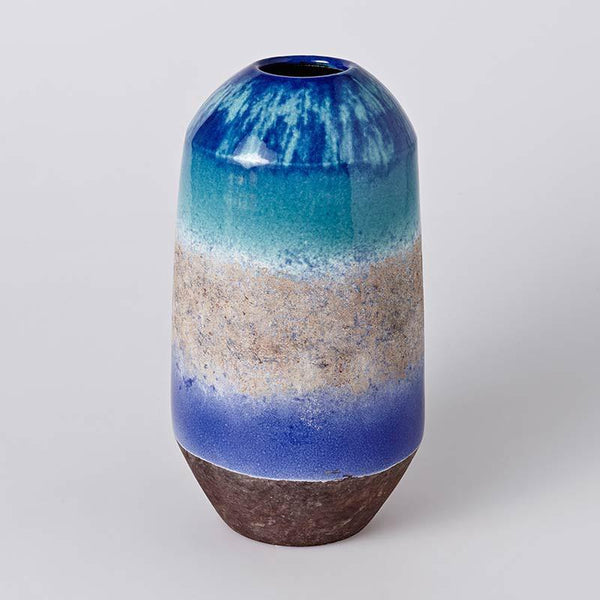 Sea water glazed clay vase