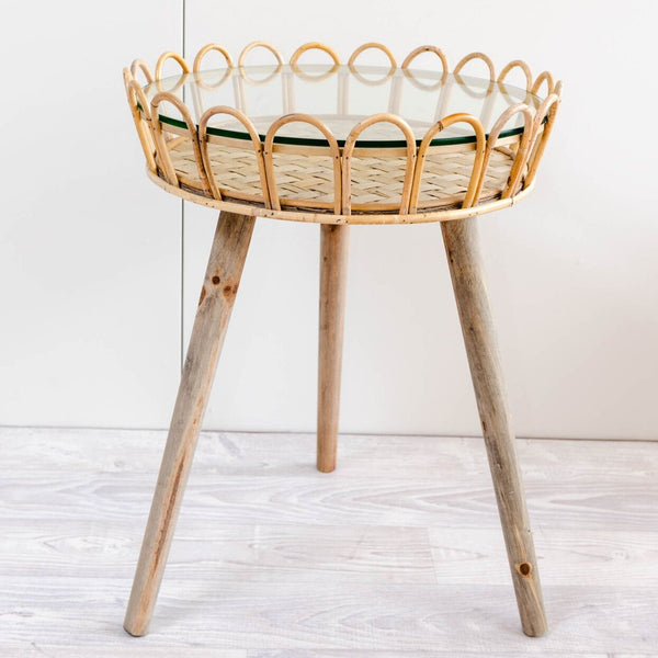 Australian gift, crystal, decor online shop: Island side table - Glass top, bamboo, rattan + wood table