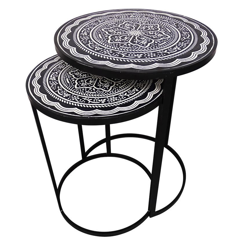 Gift, decor and crystal shop Australia: Marrakesh side tables - Pressed metal nested table pair