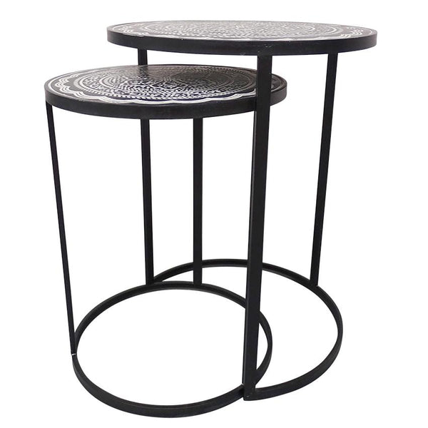 Australian gift, crystal, decor online shop: Marrakesh side tables - Pressed metal nested table pair