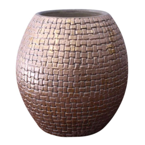 Gold weave clay pot