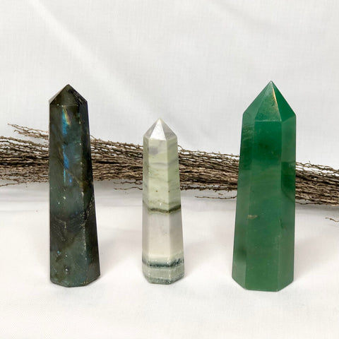 Trio of crystal towers - Labradorite, Agate + Aventurine points