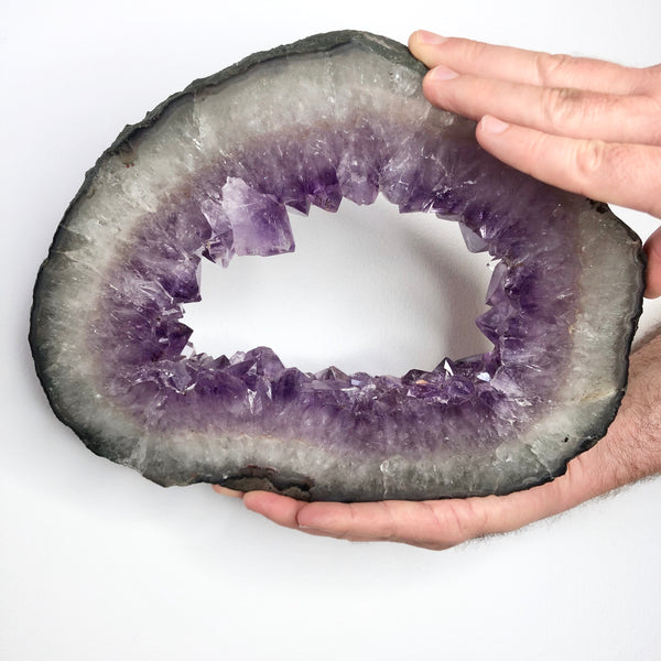 Australian gift, crystal, decor online shop: Amethyst crystal cluster with wooden stand 3.6kg