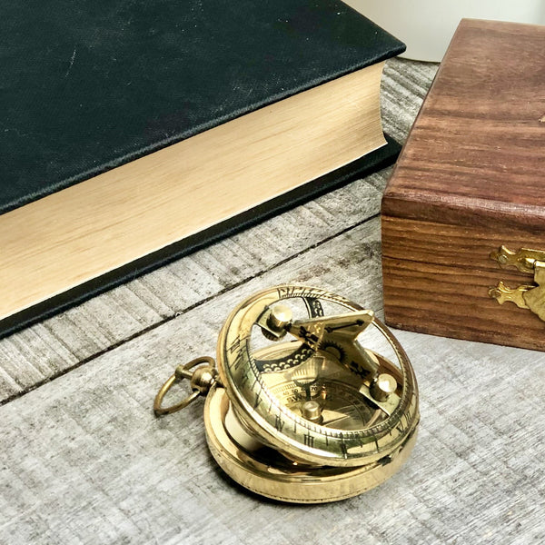 Australian gift, crystal, decor online shop: Antique brass compass, sundial and wooden box