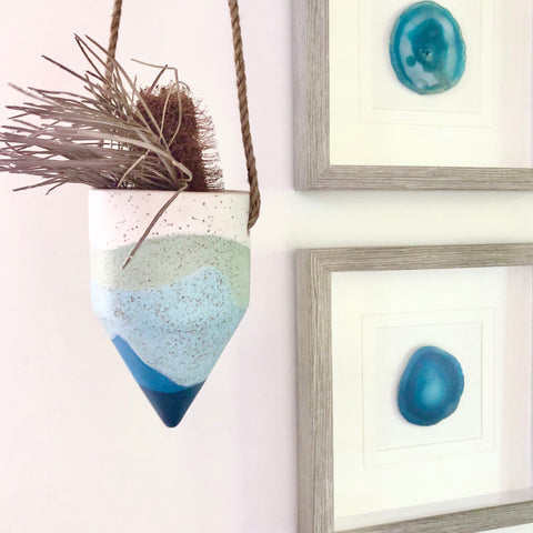 Blue waves cone hanging pot