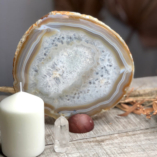 Natural Agate crystal slice tray