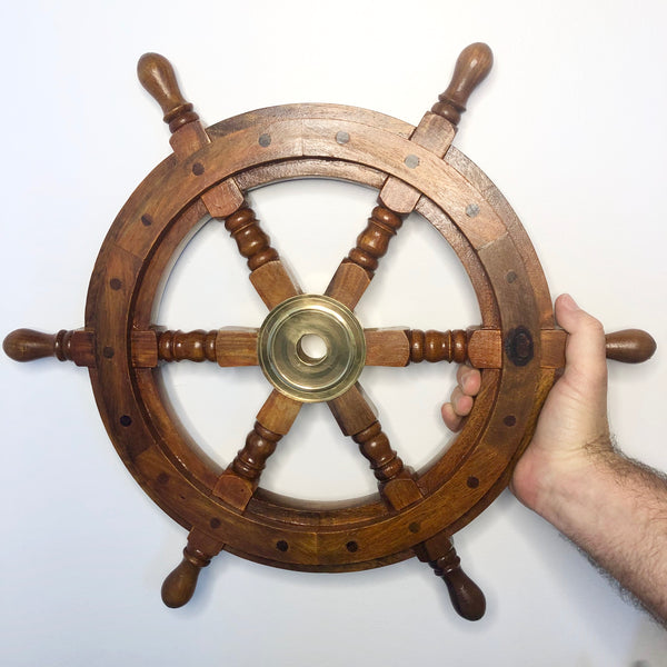 Australian gift, crystal, decor online shop: Antique wood + brass sailing ship wheel wall decor