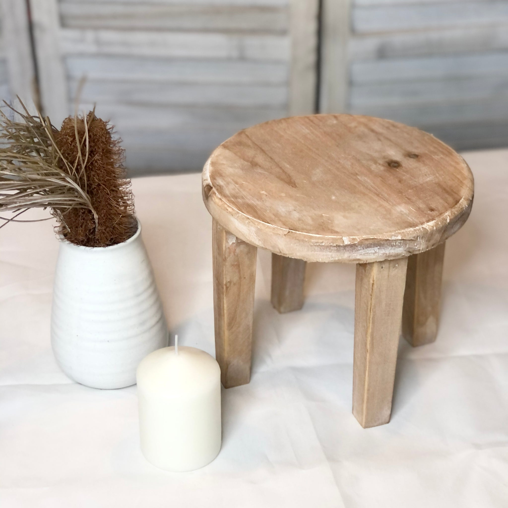 Gift, decor and crystal shop Australia: Hamptons wooden round small table / pot holder / milking stool