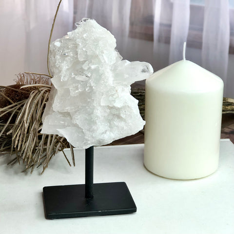 Clear quartz crystal cluster on stand 15