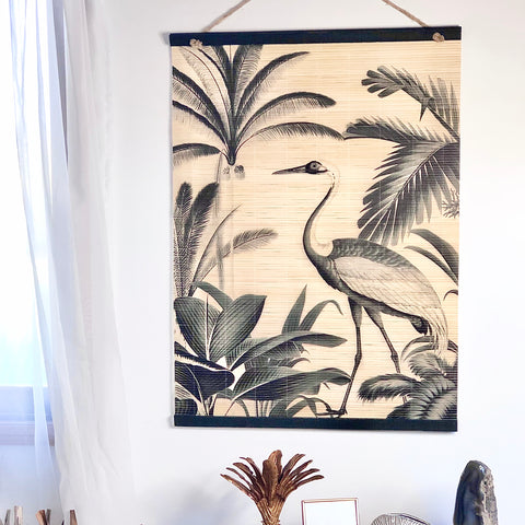 Crane tropical bamboo hanging scroll
