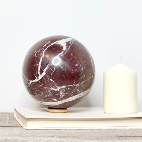 Red Onyx crystal sphere on wooden stand XL