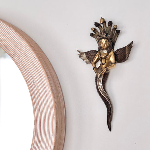 Cobra goddess bronze wall decor
