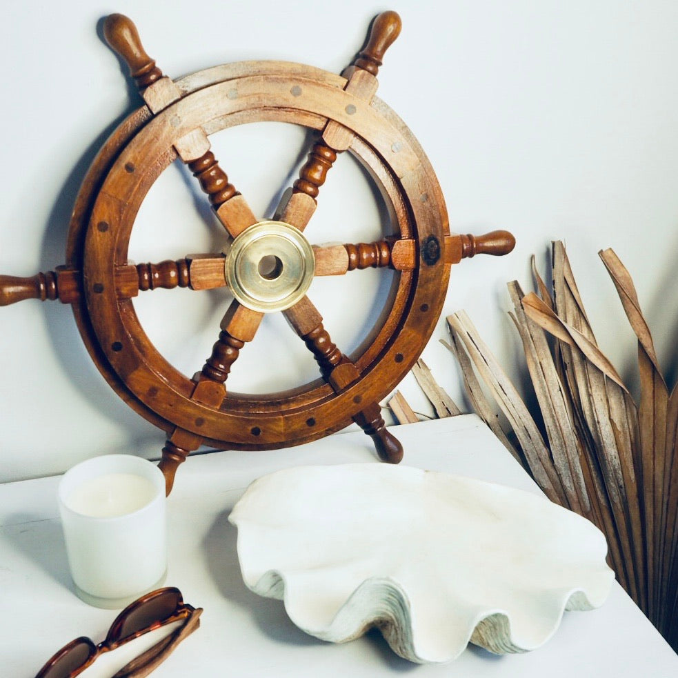 Gift, decor and crystal shop Australia: Antique wood + brass sailing ship wheel wall decor
