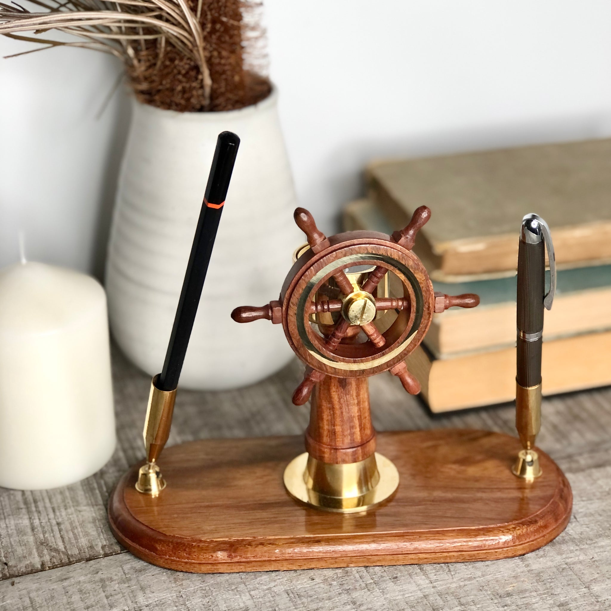 Gift, decor and crystal shop Australia: Sailing ship wheel + compass wooden desk pen holder