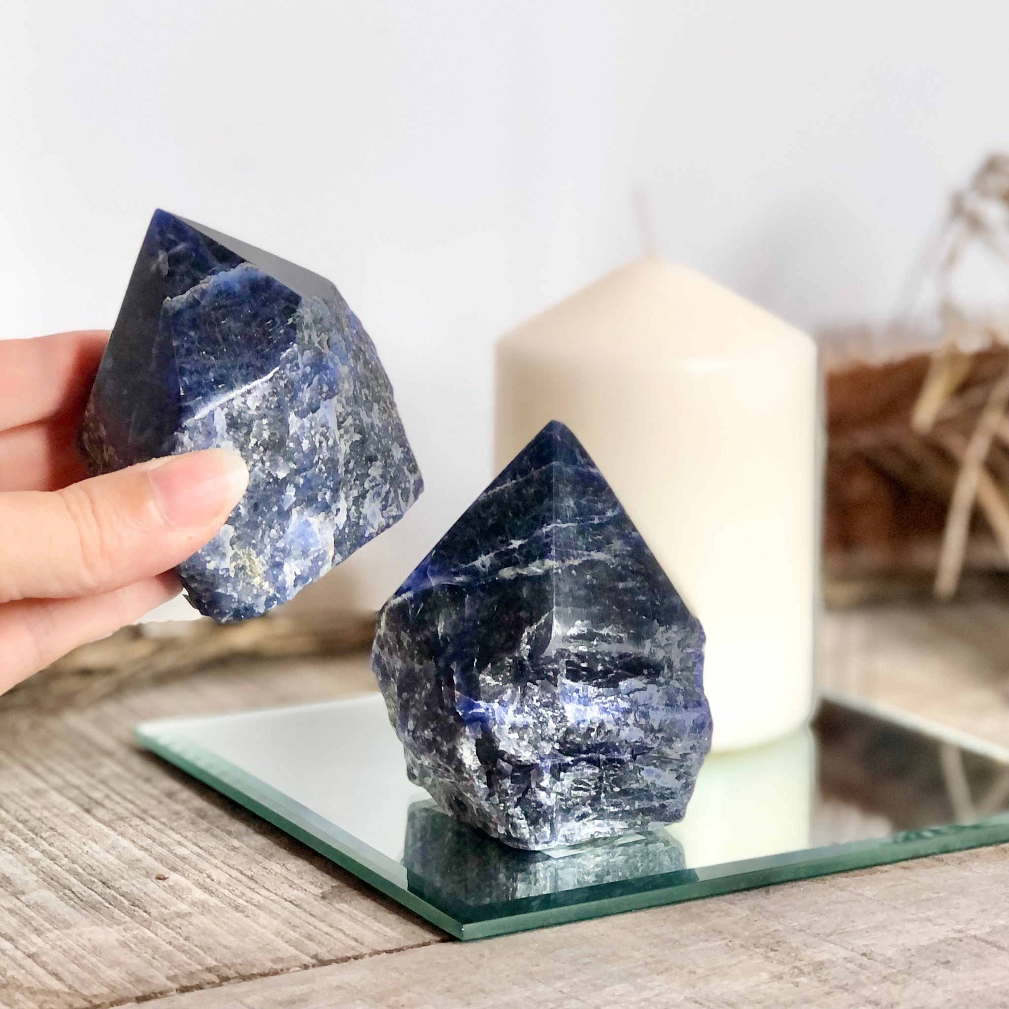 Gift, decor and crystal shop Australia: Sodalite crystal rough + polished point generator