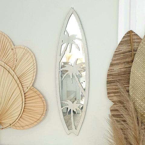 Palm trees surf board shaped mirror