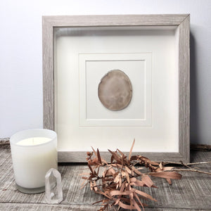 Natural Agate crystal framed ivory