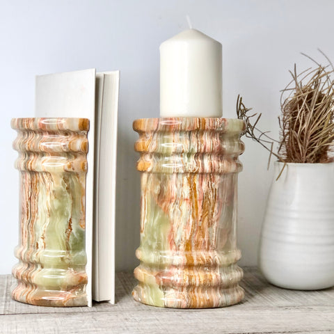 Onyx crystal roman pillar bookends green brown banded XL