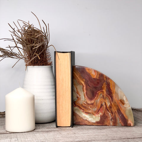 Onyx crystal single bookend brown XL