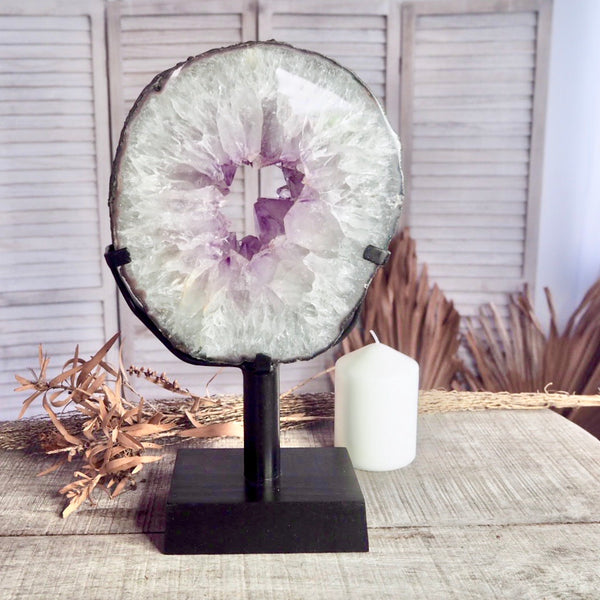 Amethyst crystal geode slice with metal stand 3.59kg