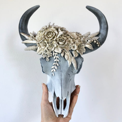 Floral golden glint bull cow skull wall mounted