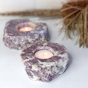 Lepidolite crystal candle holder