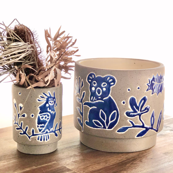 Australian flora + fauna blue glazed pot