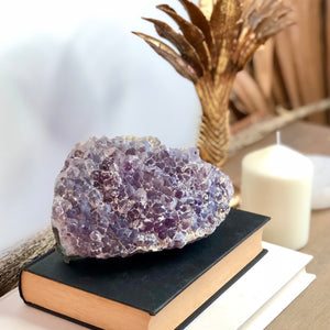 Gift, decor and crystal shop Australia: Amethyst calcite silk crystal cluster 1.4kg