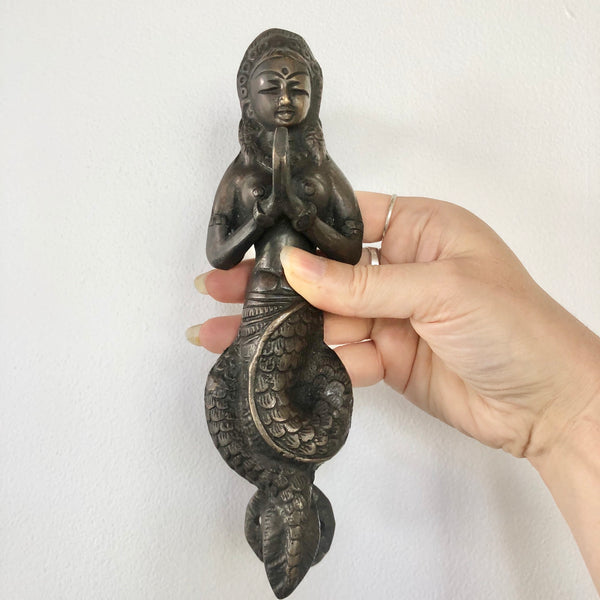 Antique bronze goddess door handle