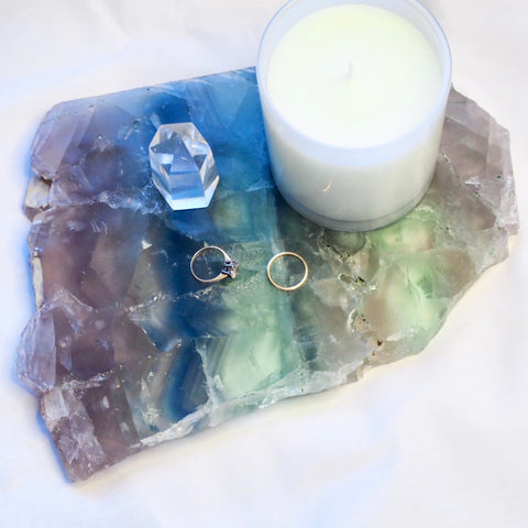 Fluorite polished crystal platter tray with stand