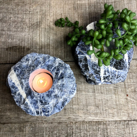 Sodalite crystal candle holder