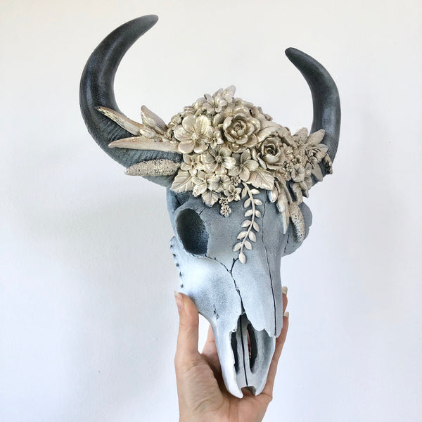 Australian gift, crystal, decor online shop: Cow bull skull with golden flowers wall mounted