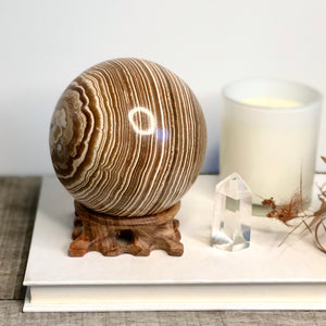 Aragonite crystal sphere with stand 2kg