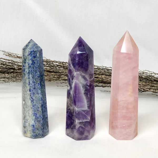 Australian gift, crystal, decor online shop: Trio of crystal towers - Rose quartz, Amethyst + Sodalite points bundle