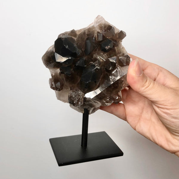 Australian gift, crystal, decor online shop: Smoky quartz crystal cluster on metal stand - various