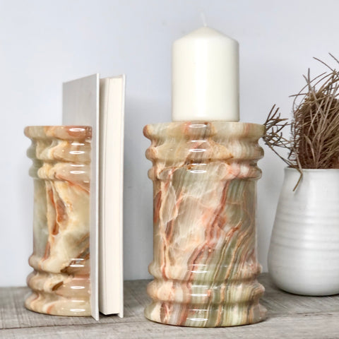 Onyx crystal roman pillar bookends ivory green banded XL