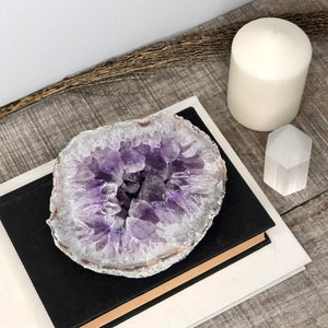 Gift, decor and crystal shop Australia: Amethyst crystal geode slice slab