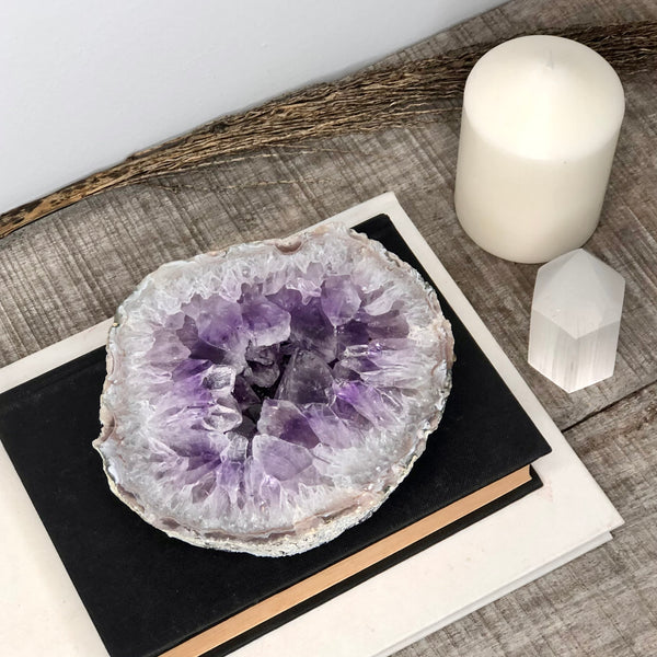 Australian gift, crystal, decor online shop: Amethyst crystal geode slice slab