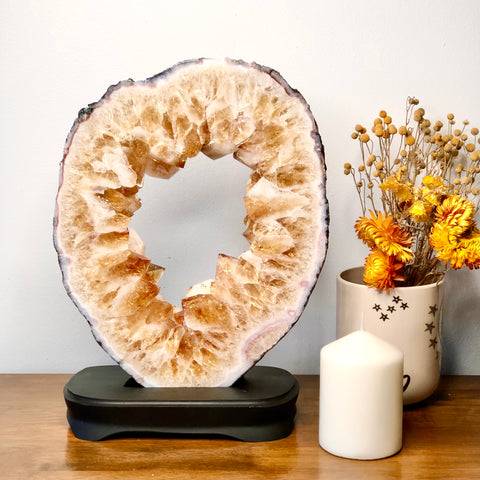 Citrine A grade geode crystal with black display stand 3.7kg XL
