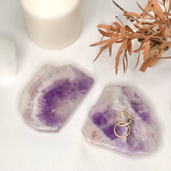 Australian gift, crystal, decor online shop: Amethyst slice slab / ring tray